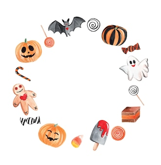 Watercolor halloween round wreath isolated on white background. for cards, banners, party design and invitations. pumpkin, happy ghost, cute bat and sweets elements