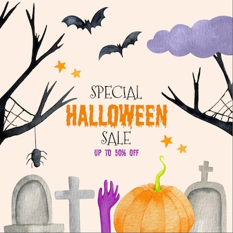 Watercolor halloween sale