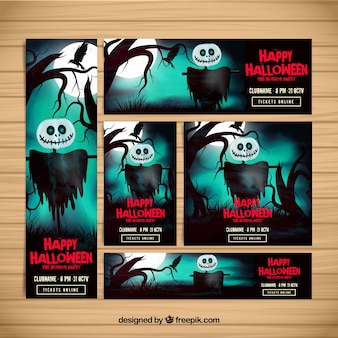 Watercolor halloween scarecrow banners pack