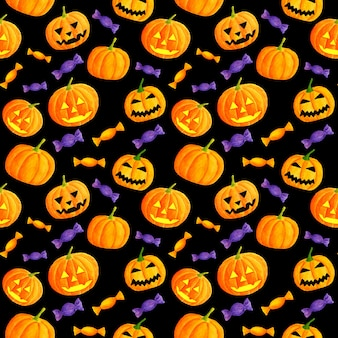 Watercolor halloween seamless pattern with carved pumpkins and candies