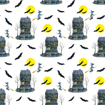 Watercolor halloween seamless pattern with haunted house and bats