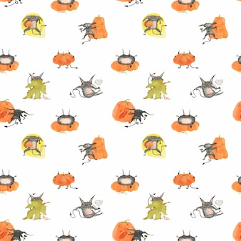 Watercolor halloween seamless pattern with pumpkins and beasts