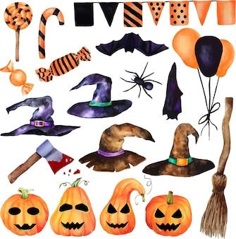 水彩ハロウィンセット。手描きの顔、お菓子、派手な魔女の帽子、魔女のほうき、斧、クモ、コウモリのカボチャ。白い背景の上の孤立したオブジェクト。