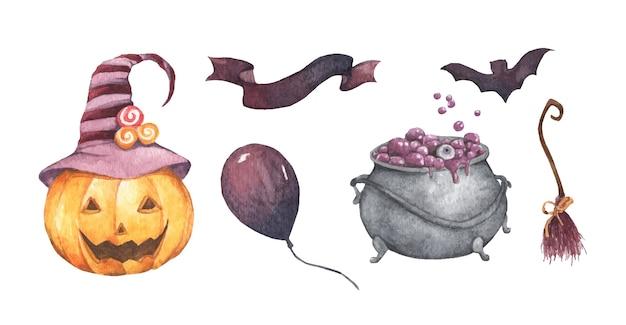 Watercolor halloween set. holiday illustration pumpkin, witch's cauldron, broom, air balloon, ribbon.