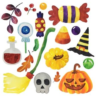 Watercolor halloween set.