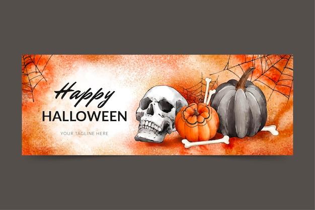 Watercolor halloween social media cover template