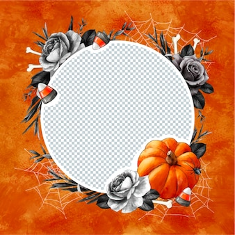 Watercolor halloween social media frame template