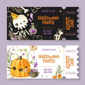 Watercolor halloween tickets set