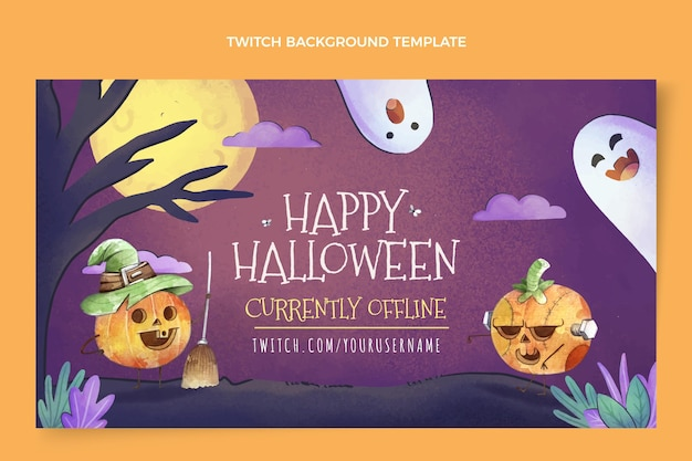 Watercolor halloween twitch background