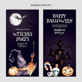 Набор акварели хэллоуин вертикальные баннеры