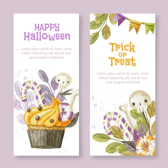 Watercolor halloween vertical banners set