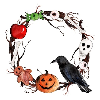 Watercolor halloween wreath background