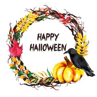 Watercolor halloween wreath background