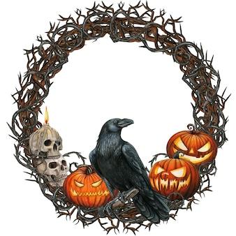 カラス、頭蓋骨、カボチャと水彩のハロウィーンの花輪