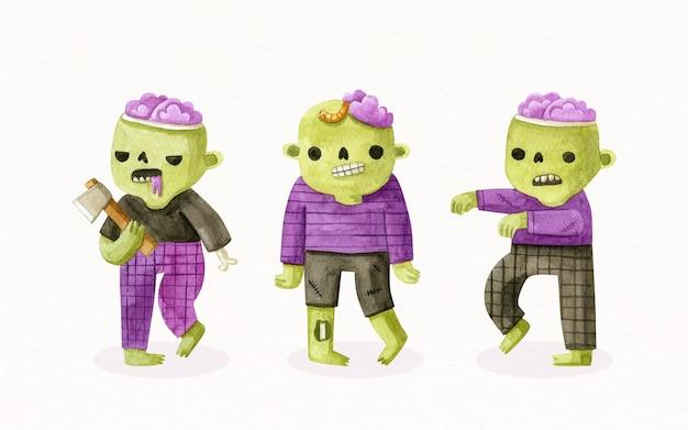 Коллекция акварелей хэллоуин зомби