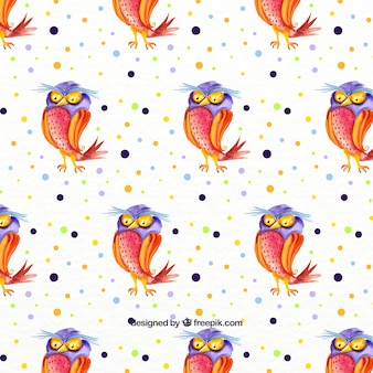 Watercolor hallowen pattern with owl