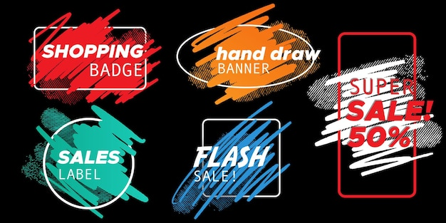 Watercolor hand draw badges collection