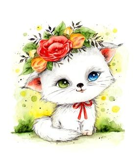Акварельная рука нарисовать красивую реалистичную кошку с цветочным венком