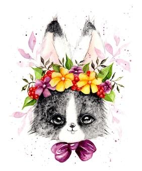 花輪と水彩の手描きの美しいリアルなウサギ
