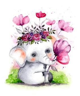 花輪と水彩の手描きのかわいいリアルな赤ちゃん象