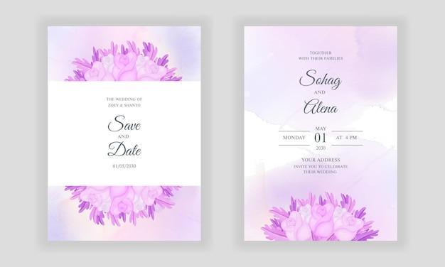 柔らかいピンクのバラと葉の背景と水彩の手描き花除草招待状