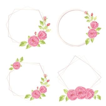 幾何学的なフレームコレクションと水彩手描きピンクイングリッシュローズリース