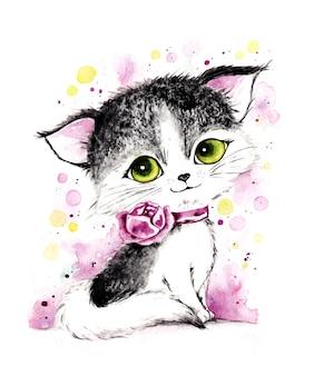水彩の手描きのリアルな猫