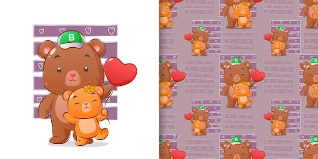 Акварель ручной рисунок медведей, гуляющих в шаблоне набора иллюстрации