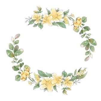 봄 섬세한 꽃의 수채화 손 그리기 화환