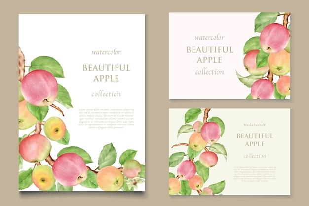 수채화 손으로 그린 사과 카드 세트