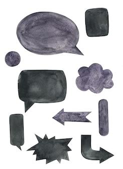 Watercolor hand drawn arrow, speech bubble set in drk, black, violet color.