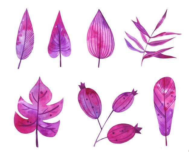 Акварель рисованной осенние цветочные листья