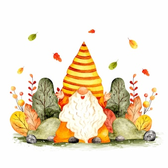 Watercolor hand drawn autumn garden gnome