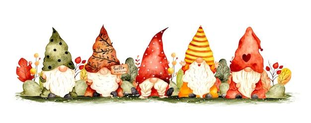 Watercolor hand drawn autumn garden gnomes background banner