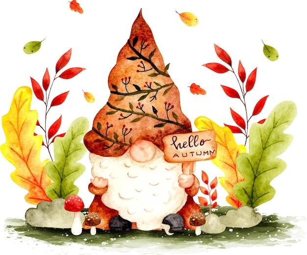 Watercolor hand drawn autumn gnome banner