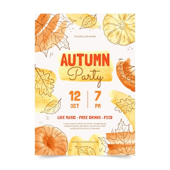 Watercolor hand drawn autumn party invitation template