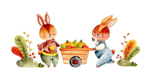 水彩手描き秋のウサギと収穫