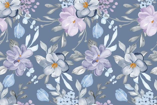 Watercolor hand drawn background seamless pattern flower lilac