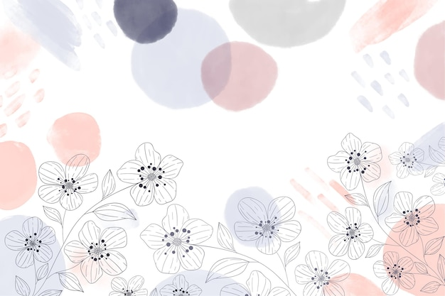 Watercolor hand drawn background with drawn elements