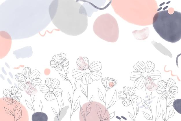 Fondo disegnato a mano dell'acquerello con elementi disegnati
