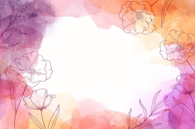 Watercolor hand drawn background with flowers