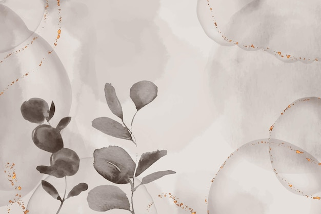 Watercolor hand drawn background with leaves