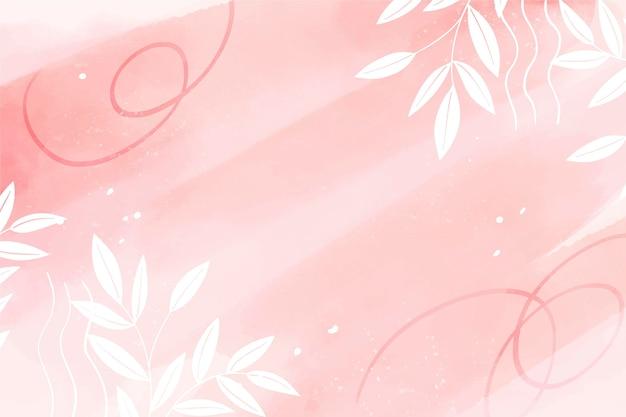 葉と水彩手描きの背景