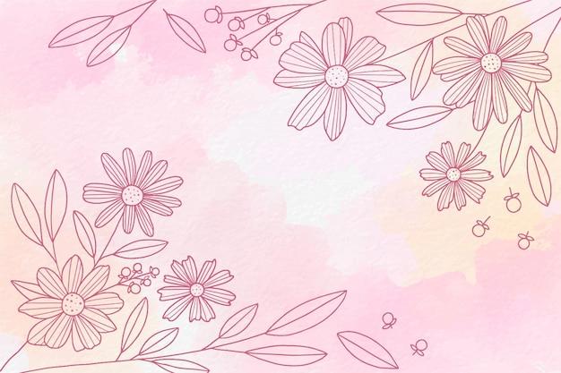 Акварель рисованной фон с растениями