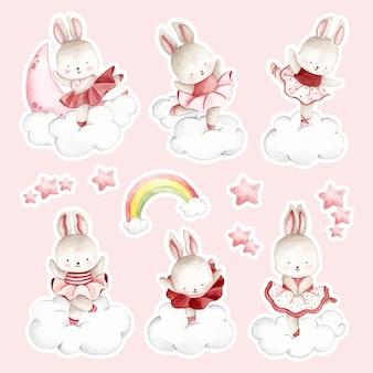 水彩手描きバレリーナウサギステッカー