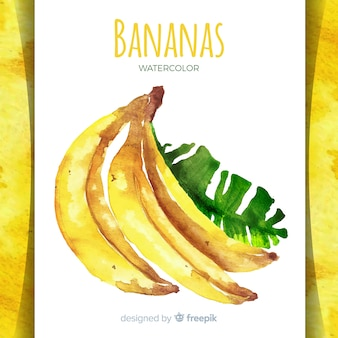 Watercolor hand drawn banana background