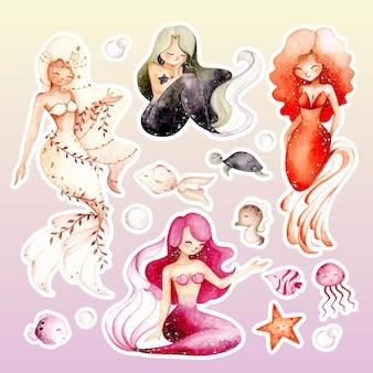 Watercolor hand drawn beautiful mermaid sticker