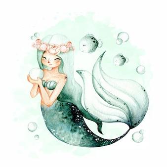 Акварель рисованной красивая русалка