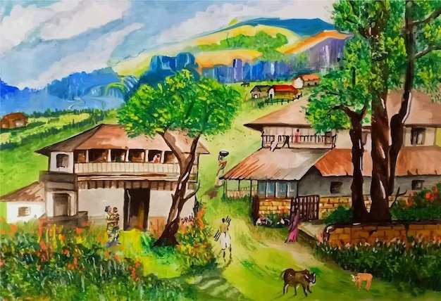 Watercolor hand drawn beautiful village nature illustration