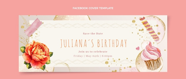 Watercolor hand drawn birthday facebook cover